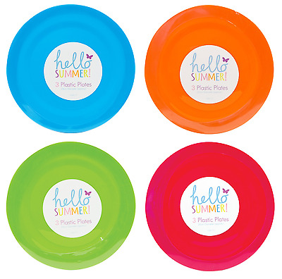 REUSABLE PLASTIC PLATES 25CM PARTY PICNIC BBQ GARDEN 4 COLORS to CHOOSE FROM UK