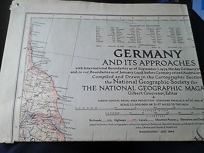 NATIONAL GEOGRAPHIC MAP ~ GERMANY DURING WWII ~ July 1944 ~ NICE CONDITION