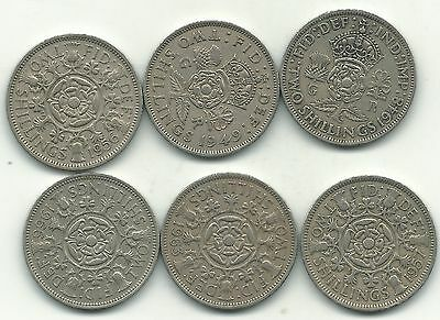 Nice Lot 6 Great Britain 2 Shilling Coins-1948,1949,1956,1957,1963,1966-Jan445