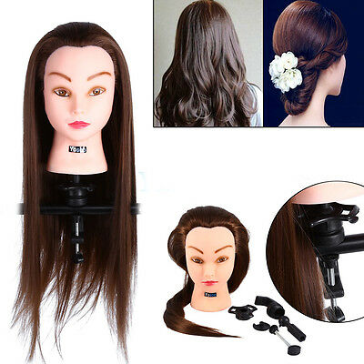 Salon Hairdressing Training Head 30% Real Human Hair Mannequin Doll & Clamp UK