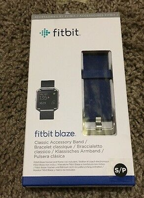 Fitbit Official Replacement Classic Band for Fitbit Blaze Blue / Stainless NIB