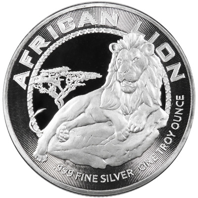 2017 $2 Niue Silver African Lion .999 1 oz Brilliant Uncirculated