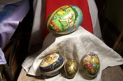 4 Vintage West German Paper Mache Egg Containers From 3 1/2 To 8 Inch- L-B571
