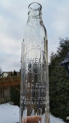 Shell Canada 1930's Canadian Motor Oil Glass Bottle Imperial Quart Not Tin Can