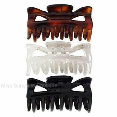 Card of 3 Small Black, Clear and Tort Hair Clamps Claws Clips 4cm