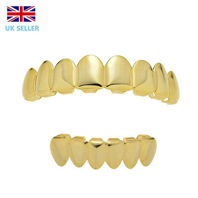 Gold Grillz 24k Plated Teeth Mouth Grills 8 Tooth Top Bottom Bling Hip HopRap