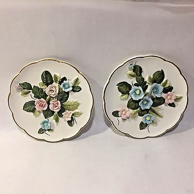 "2 Vtg LEFTON #668 Pair Applied Roses 6""  Porcelain Wall Plaques Pink & Blue"