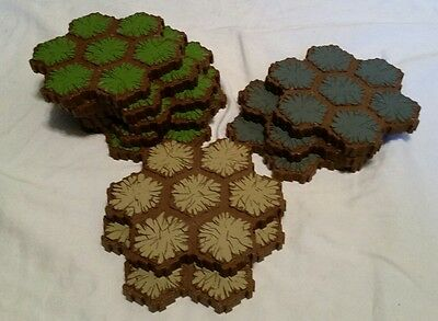 heroscape terrain 7 hex grass, rock and sand