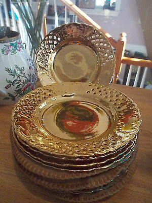 11 Antique Gold Reticulated Silesian Porcelain Dessert Plates-P Donath, Germany