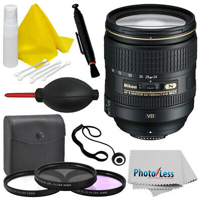 New Nikon AF-S NIKKOR 24-120mm f/4G ED VR Zoom Lens (White Box) Top Value Bundle