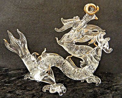 """Dragon,Collector of Dragons, Large Blown Glass Dragon with gold trim 7"""" X 5"""""""