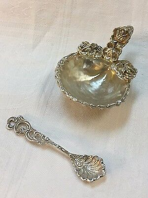 Sterling Silver Shell & Rose Salt Cellar with Spoon