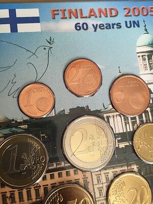 Finland Suomi 2005 Euro KMS Set 1cent To 2€ 3,88 Plus 2005 Cc ONU 60 Years