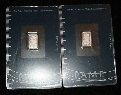 2g Pamp Suisse Platinum Bar Ingot 2x 1 Gram Fortuna Sealed Card .9995 NR