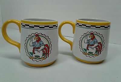 Set of 2 Foghorn Leghorn Mugs/Cups Vintage 1992 Warner Brothers Yellow