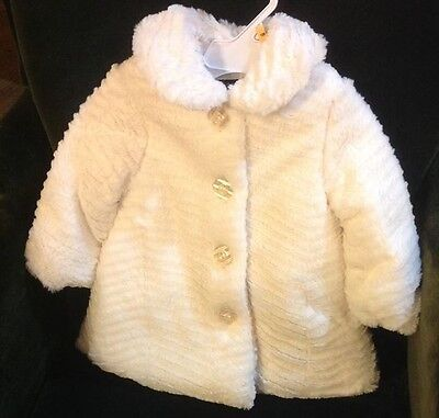 NWT 12 Month Calvin Klein Baby Girl Coat White Dressy Faux Fur MSRP$60