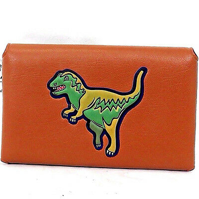 Authentic COACH Dinosaur Beast REXY Brown leather Card holder case w/dust bag
