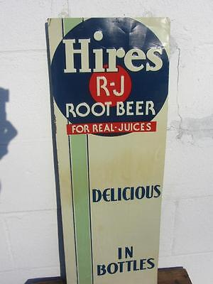 Vintage HIRES ROOT BEER Art Deco VERTICAL Tin Sign SUPER CLEAN coca cola pepsi