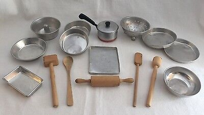 17pc Vintage Aluminum Cookware & Wood Utensils Child Size Play Food Toy LotA