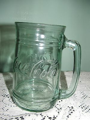 Coca Cola Coke Green Glass 16 oz Glass Mug with Handle Cup Excellent