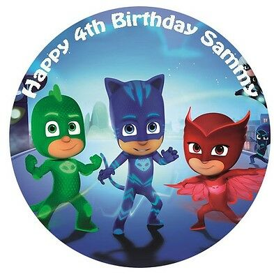 1 x PJ Masks 19cm round personalised cake topper edible image