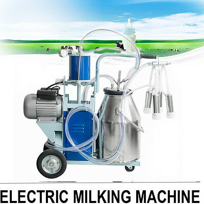 Automatic Electric Milking Machine Vacuum Piston Pump+25L Bucket Farm Cow Cattle