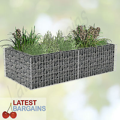 Gabion Planter Outdoor Garden Plant Pot Wire Mesh 180 x 90 x 50 cm