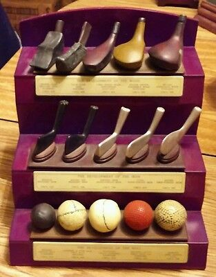 Development of The Golf Ball, Iron, & Wood History Display 3 Tiered Wood b21