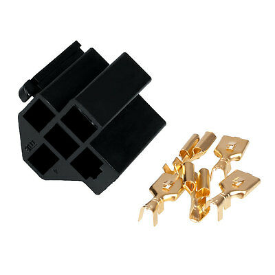 Car Auto Vehicle 5 Pin Relay Socket Holder with 5Pcs 6.3mm Copper Terminal