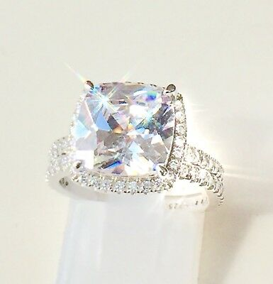 6.5ct Diamond REAL Sterling Silver Engagement + Eternity + Wedding Band SET