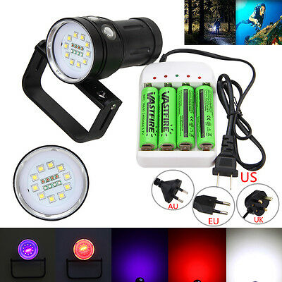 Underwater 100m 12000LM 10x XM-L2+4x Red+4x UV LED Scuba Diving Flashlight Torch