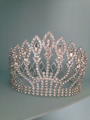 5 Inches Tall Rhinestone Crown / Clear Stones. Wedding / Pageant Crown / Stage