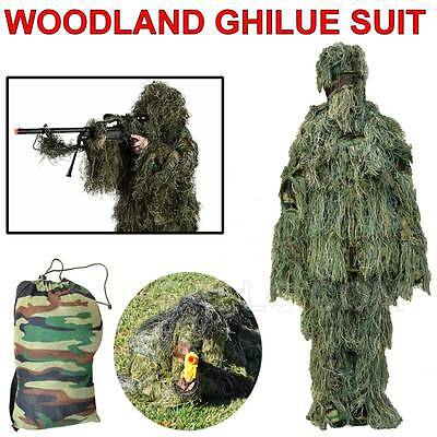 CSAIRMALL ghillie suit Camo Woodland 3D Hunting Camouflage Archery Sniper 5pcs