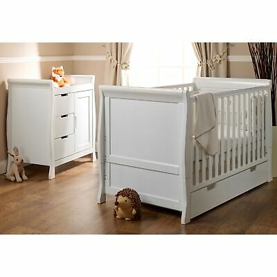 Obaby Baby/Child Stamford 2 Piece Room Set - White - Cot Bed & Changing Unit
