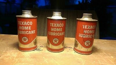 Vintage ThreeTexaco Home Lubricant Tin Oil Can 4 Oz Advertising All three Full