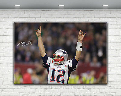 Tom Brady Signed Canvas Print New England Patriots 2017 Superbowl Li
