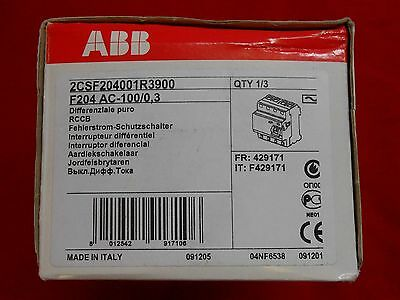 ABB f204 ac-100/0,3 2CSF204001R3900 Residual Current Device 4P 100A ground fault