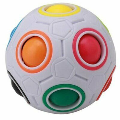 Rainbow and White Spherical Ball Shaped Magic Cube Speed Puzzle Toy Gift NEW