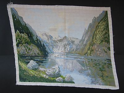 Beautiful Handmade Gobelin Tapestry Needlepoint Views Lake in the mountains