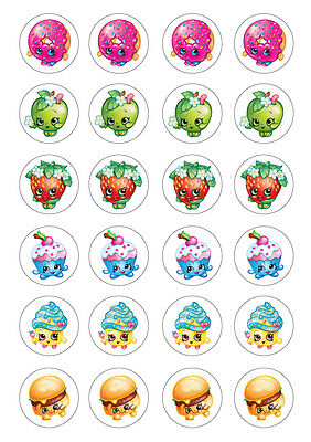 24 assorted Shopkins 4cm round cupcake edible images