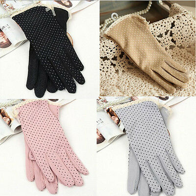Cotton Driving Elegant Gloves Summer Sun UV Protection Beige +Dots For Women