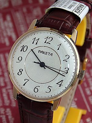 NEW RAKETA VINTAGE MENS MECHANICAL watch Made in USSR GOLD PLATED