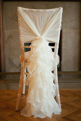 50 Ivory Chiffon Ruffle wedding chair cover hood and tail set for sale