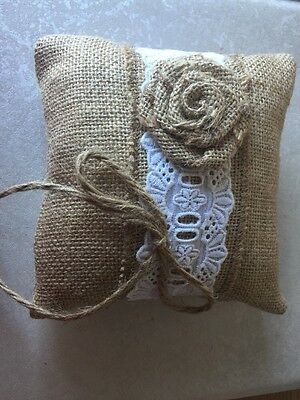 """6"""" White Lace Hessian Ring Bearer Cushion Wedding Accessories"""