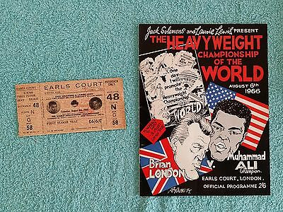 1966 - MUHAMMAD ALI v BRIAN LONDON PROGRAMME + TICKET - HEAVYWEIGHT TITLE