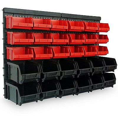 Wall Mount Storage Bin Kit 32 pcs with stackable Boxes - Garage and Warehouse...
