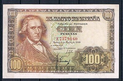 Spain-Banknote Extremely Rare Rare 100 Pesetas 1948  Xf++