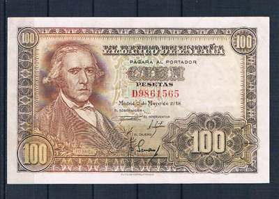 Spain-Banknote Extremely Rare Rare 100 Pesetas 1948  Aunc