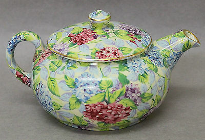 James Kent Old Foley Blue Hydrangea Chintz Small Teapot 1990s Reissue