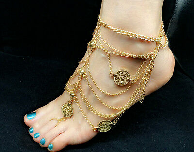 NEW Jewellery Lady Body Boho Beach MULTI layer Ankle Anklet Foot Chain Gold